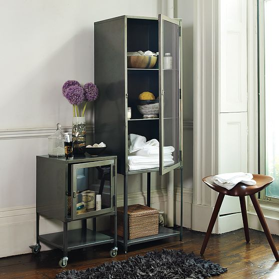 Metal storage cabinet for the bathroom