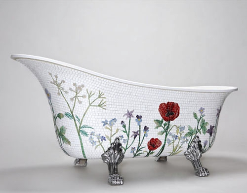 Colorful Mosaic Bathtub by Mosaic Sweden