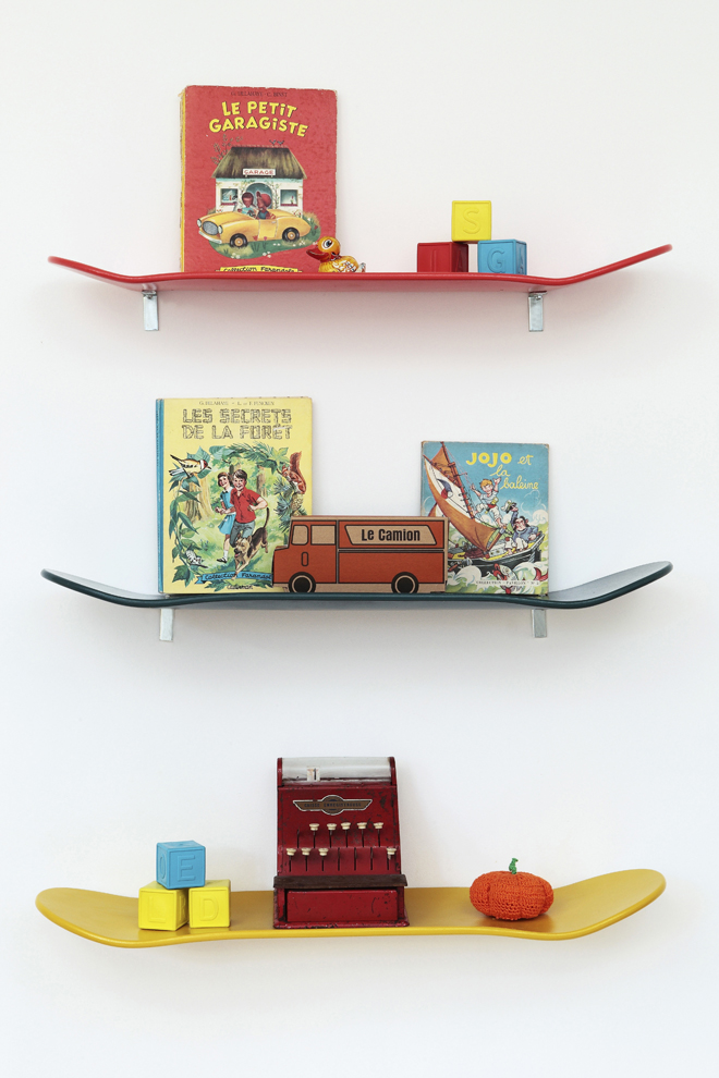 Another kids room skateboards shelves