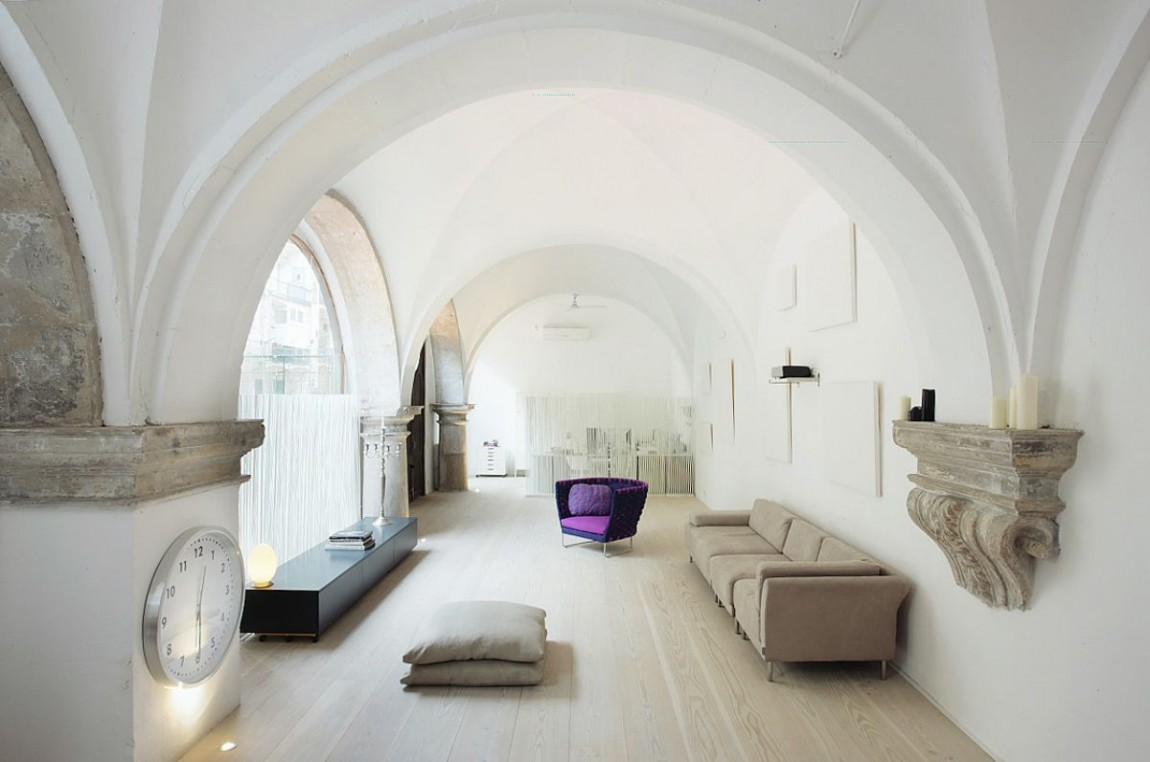 Modern restored white interior by minim interior design studio