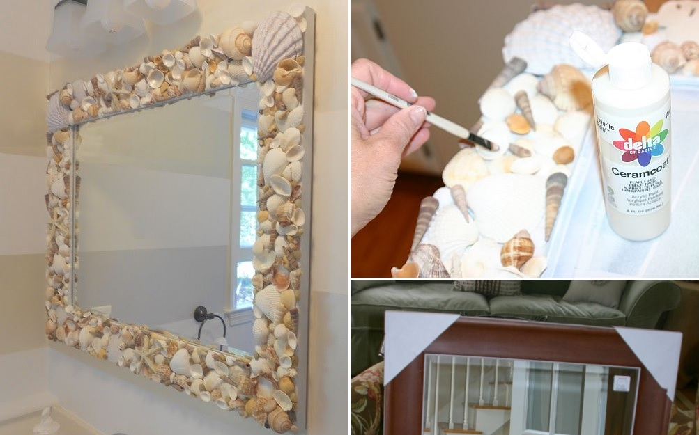diy shell mirror - Decorate Mirror Frame
