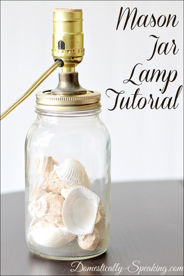 Mason Jar Lamp with seashell inside
