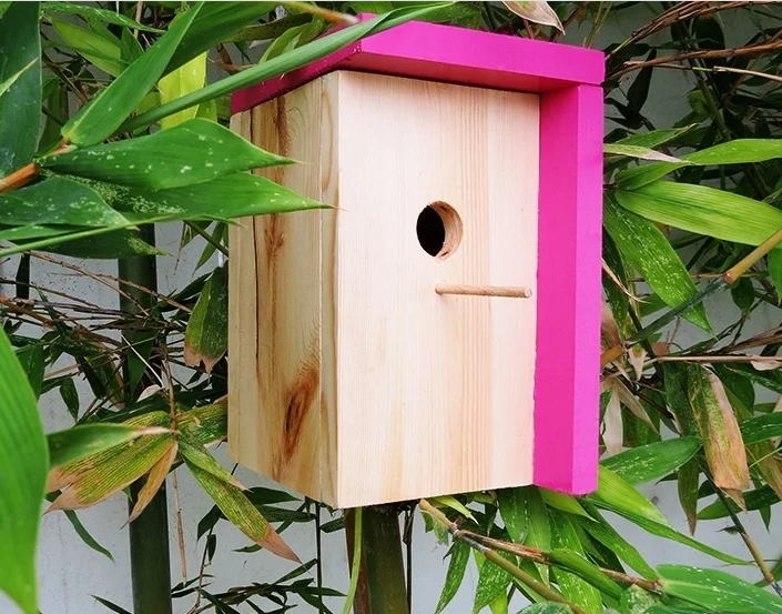 Simple birdhouse with a flat roof