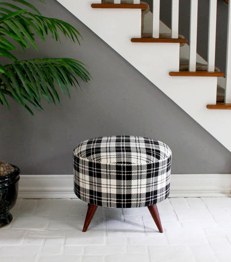 Spool ottoman black and white pattern