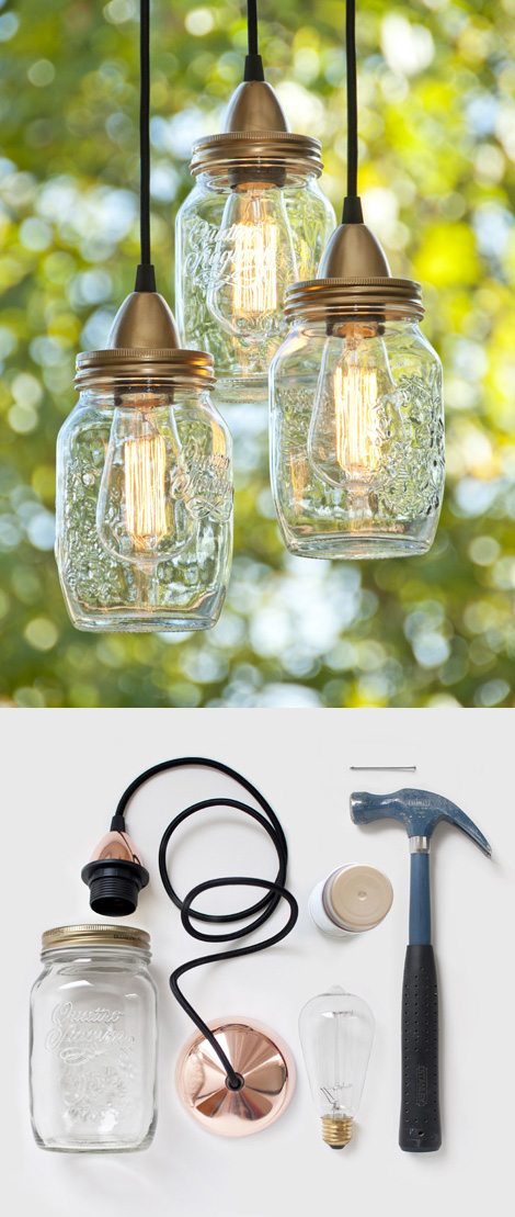 Unique lighting fixtures from mason jar