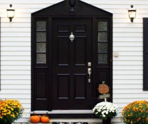 A Set Of Design Showcasing The Elegance Of Black Front Doors