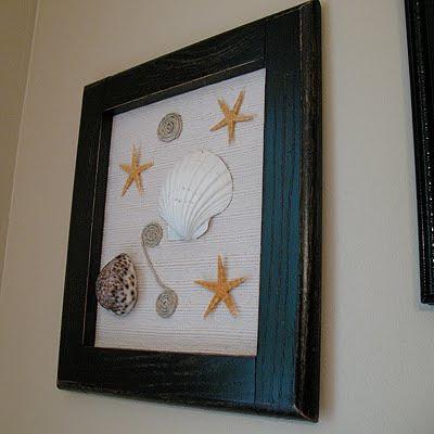 Wooden frame seashells