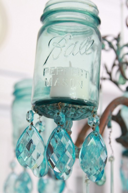 Lovely DIY Aqua Chandelier - Chandelier crystals diy