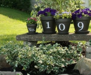... Ingenious DIY House Numbers Of Flower Pots Awesome Design