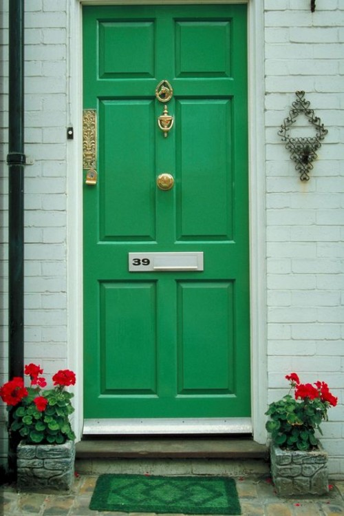 Green Front Doors Showcasing The Environment