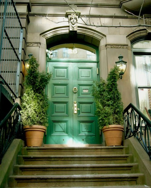Green Front Doors; Showcasing The Environment.