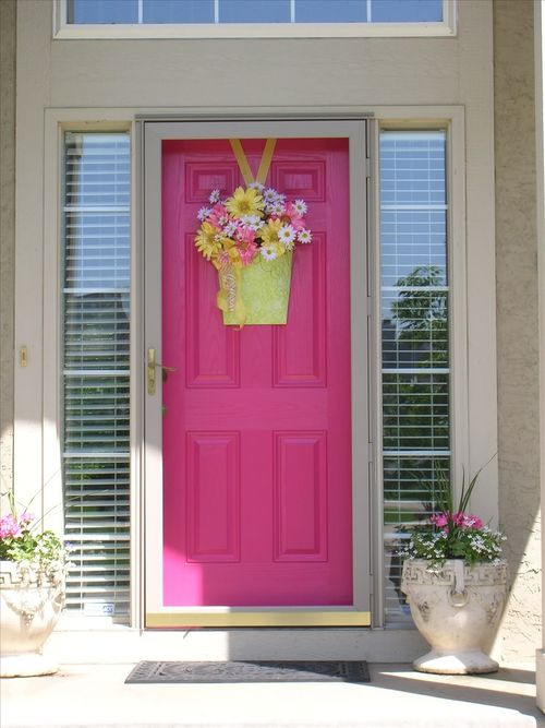 Door designs the feminine touch of pink - Front door color ideas inspirations can use ...