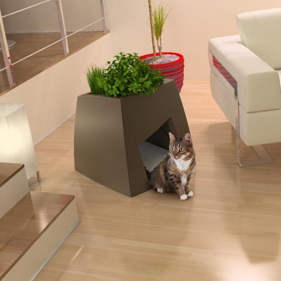 A Modern Planter For You And A Comfy House For Your Pet