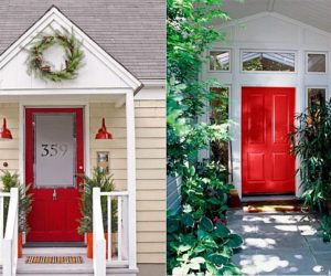 Make A Splash With A Red Front Door35 Front Door Flower Pots For A Good First Impression. Home Front Door Designs. Home Design Ideas