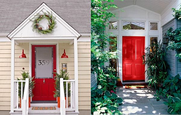 View In Gallery A Red Front Door With White Frame