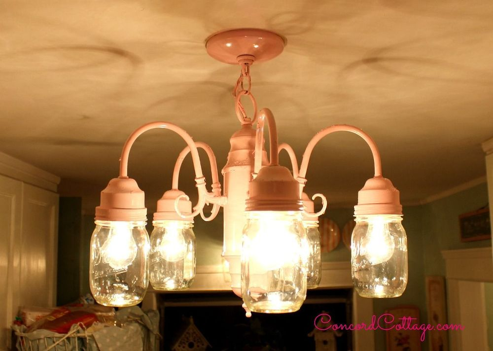 shabby chic pink mason jar chandelier