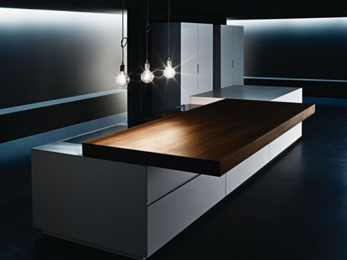 Sliding kitchen counter by minimal Kitchen profile glass design