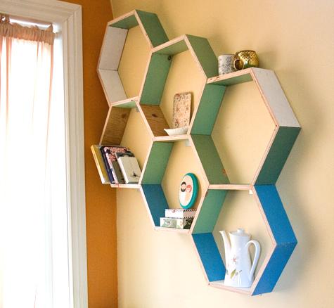 Cheerful DIY Honeycomb Storage Shelves