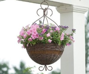 Hanging Flower Basket Made of Wicker