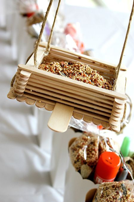 Bird feeder from wood sticks