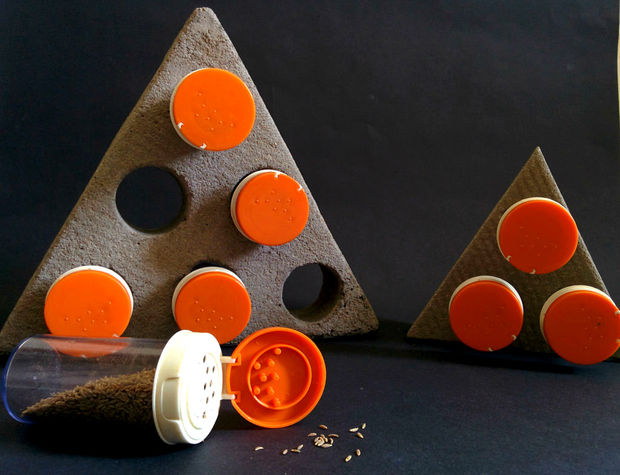 Concrete triangle spice rack