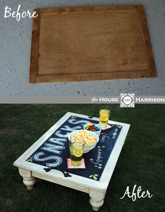 Creative serving tray with chalkpaint on top