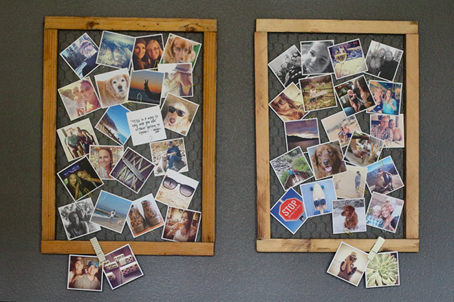 DIY display instagram pictures on wire frame