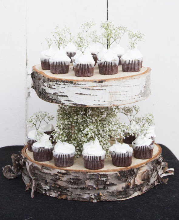 Floating birch cupcake stand
