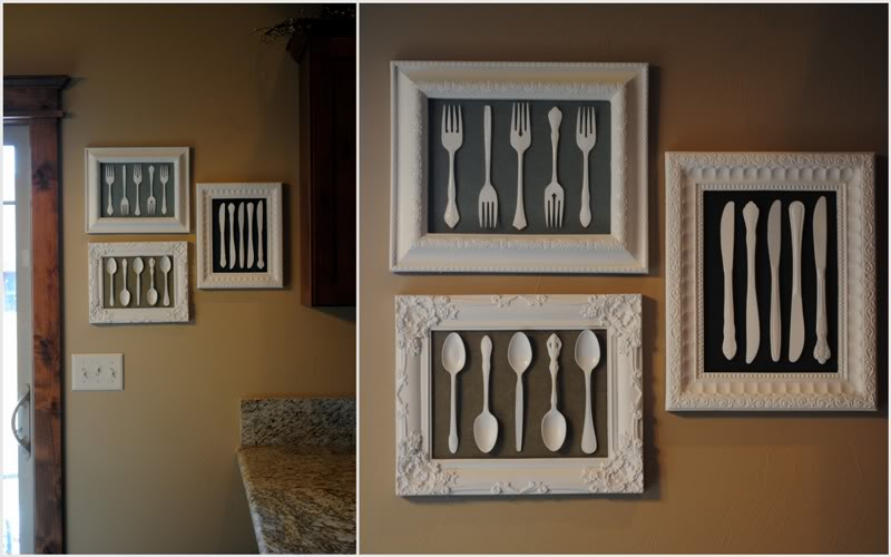 Framed white painted silverware