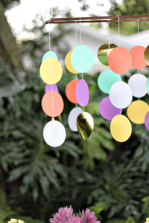 Giant confetti chandelier