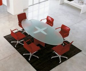 Valeo glass meeting table by EPCR