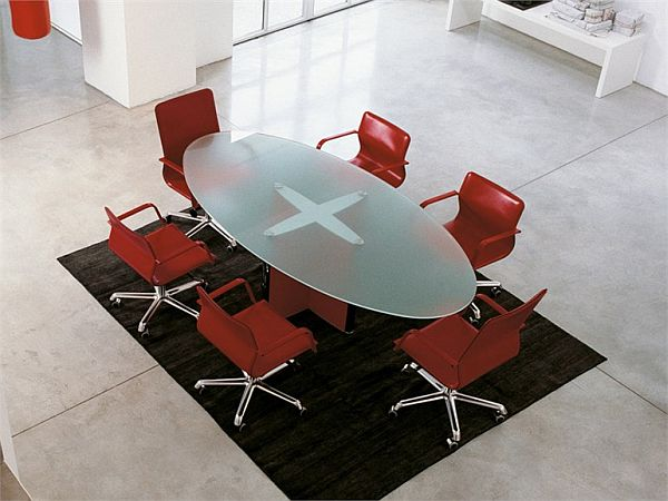 Valeo Glass Meeting Table By EPCR - Frosted glass conference room table