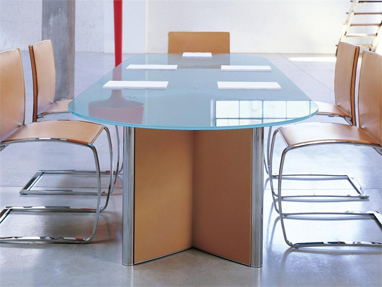 Valeo Glass Meeting Table By EPCR - Oval glass conference table