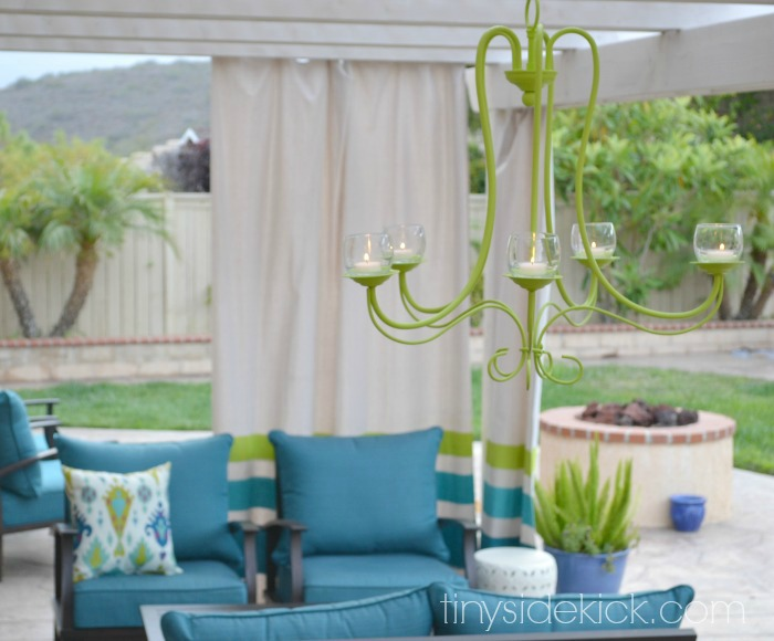 Green chandelier makeover for outdoor