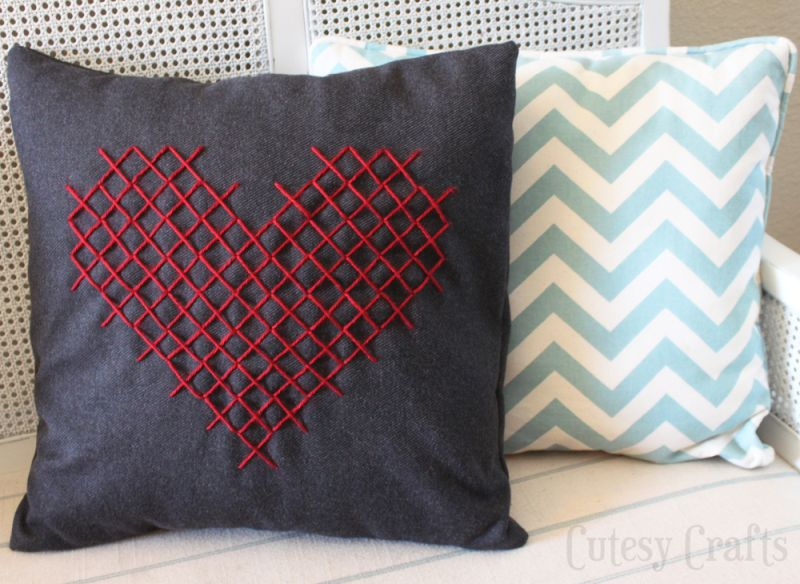 Heart pillow cross stitch
