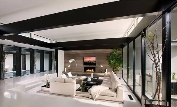 Vera wang 39 s modern glass and steel home in beverly hills for Living room ideas nz