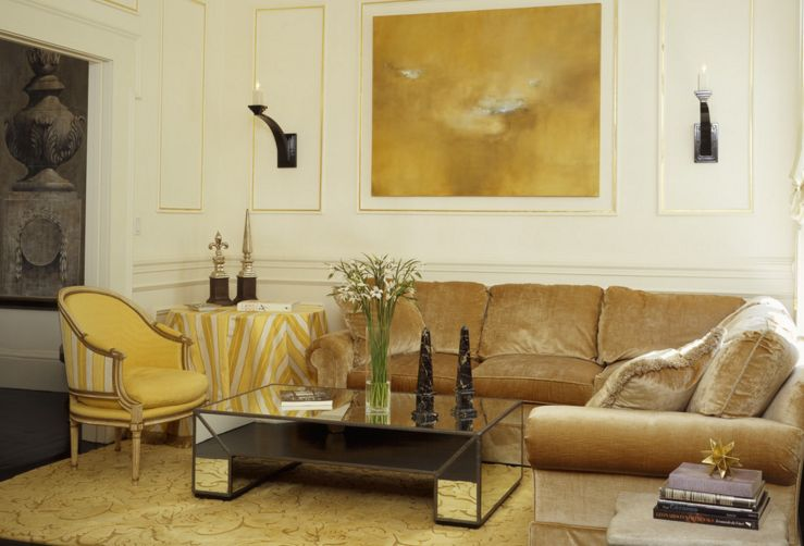 Mustard living room accents