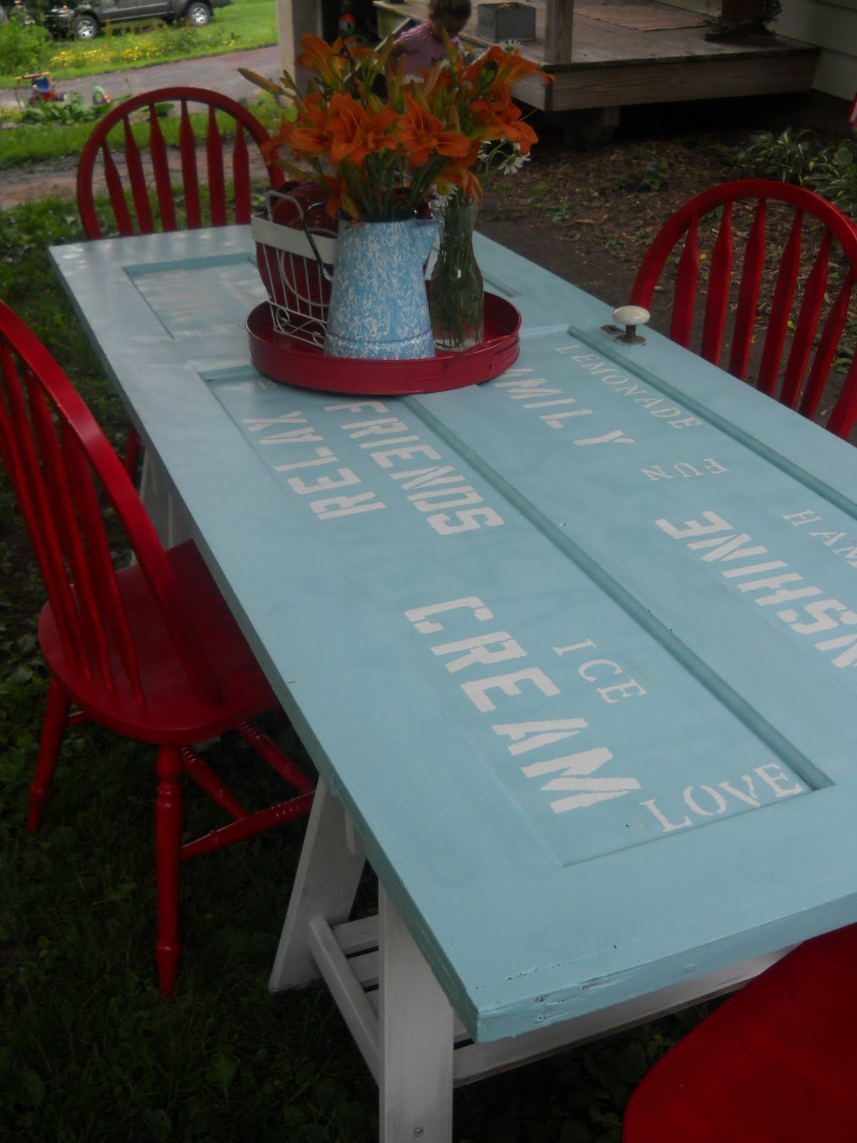 Picnic table from a recycled door