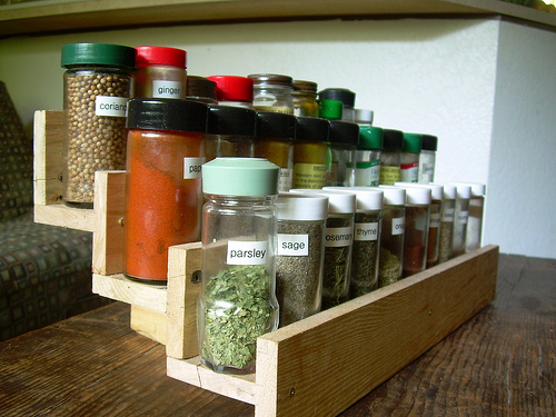 Reclaimed wood pallet wood turned into a spice rack