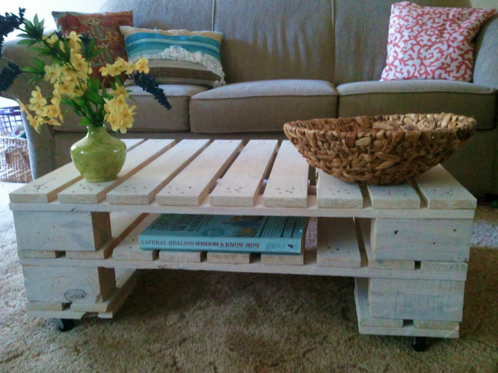 How to make a sofa table out of floor boards - Simple Pallet Coffee Table