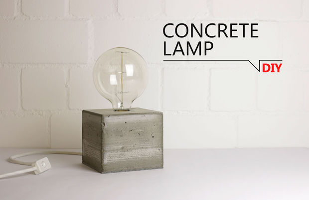 Simple concrete lamp
