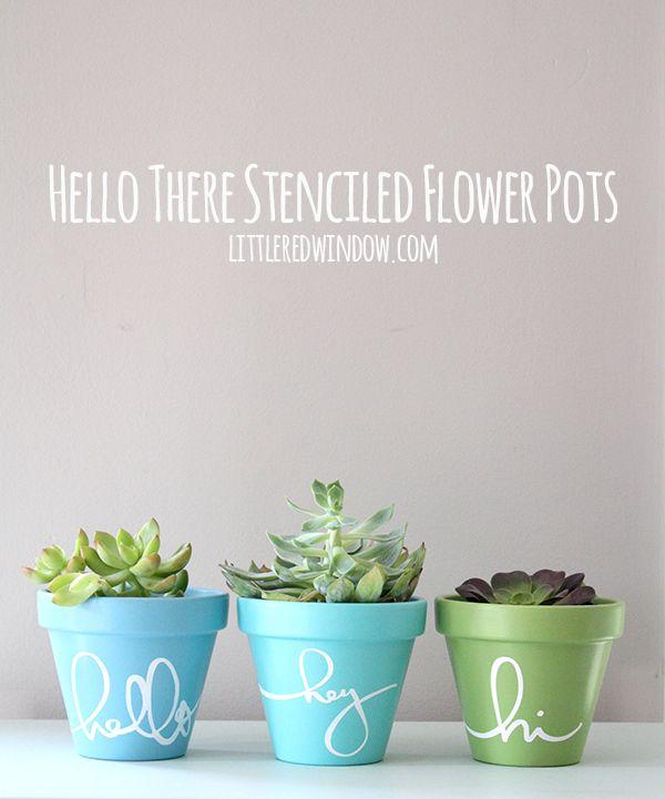 Stencil flower pots