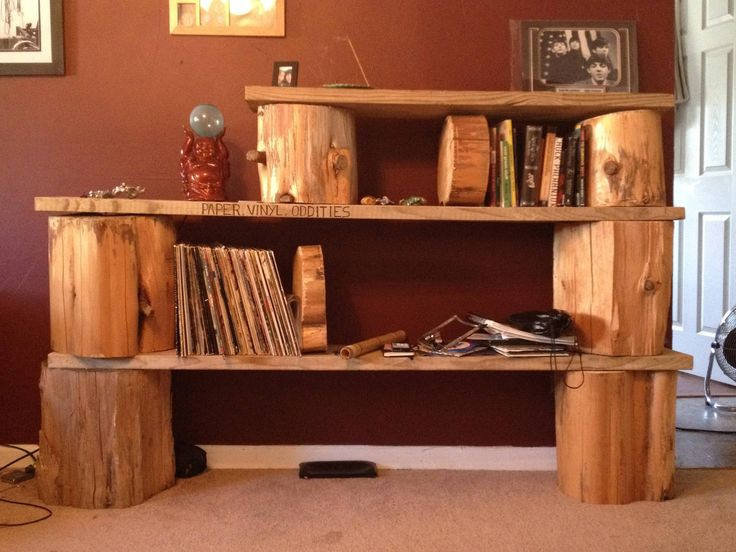 Tree stump bookshelf