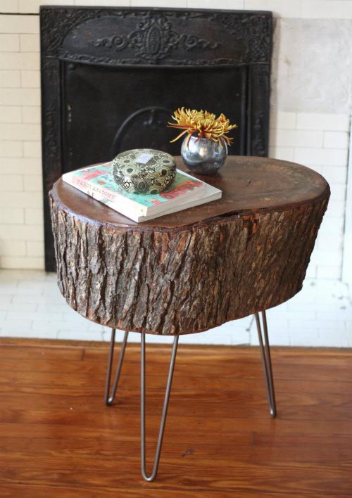 Tree stump table hairpin legs