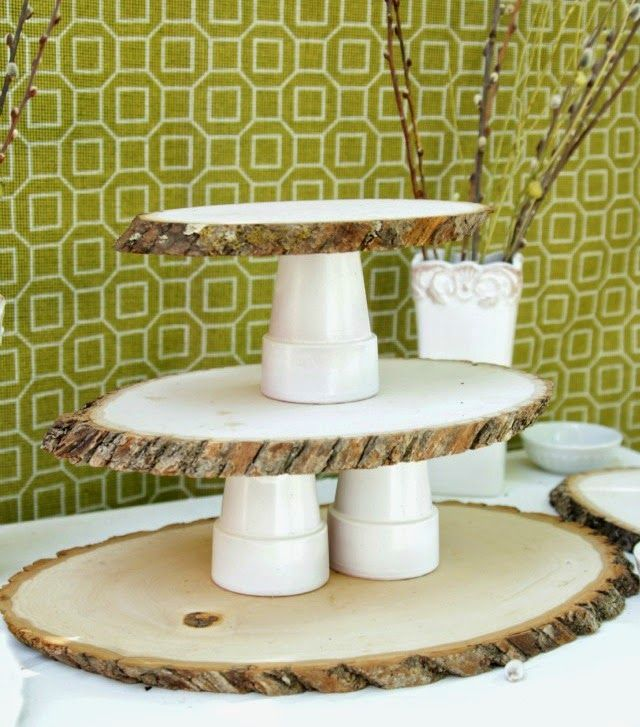 Wood Tree stand cupcake & 5 DIY Cake Stands You Can Do With Wood Logs And Slices