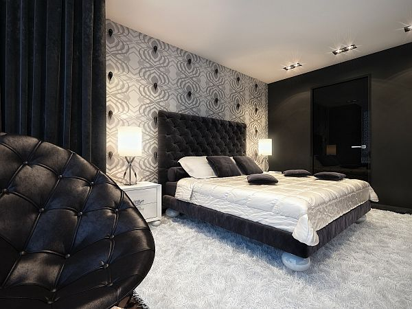 black and white bedrooms with a splash of color splash of color in a black amp white environment 21311