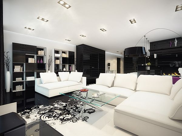 Splash of color in a black white environment - Gorgeous pictures of black white and grey living room decoration ideas ...