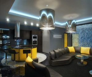 Berejkovskaya – Black Apartment With Yellow Accents by Geometrix