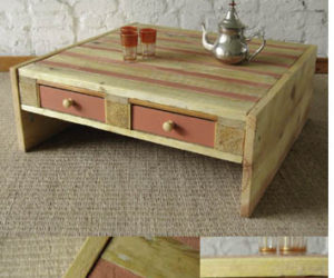 Coffee table with drawers from pallets. Pool chairs from pallets