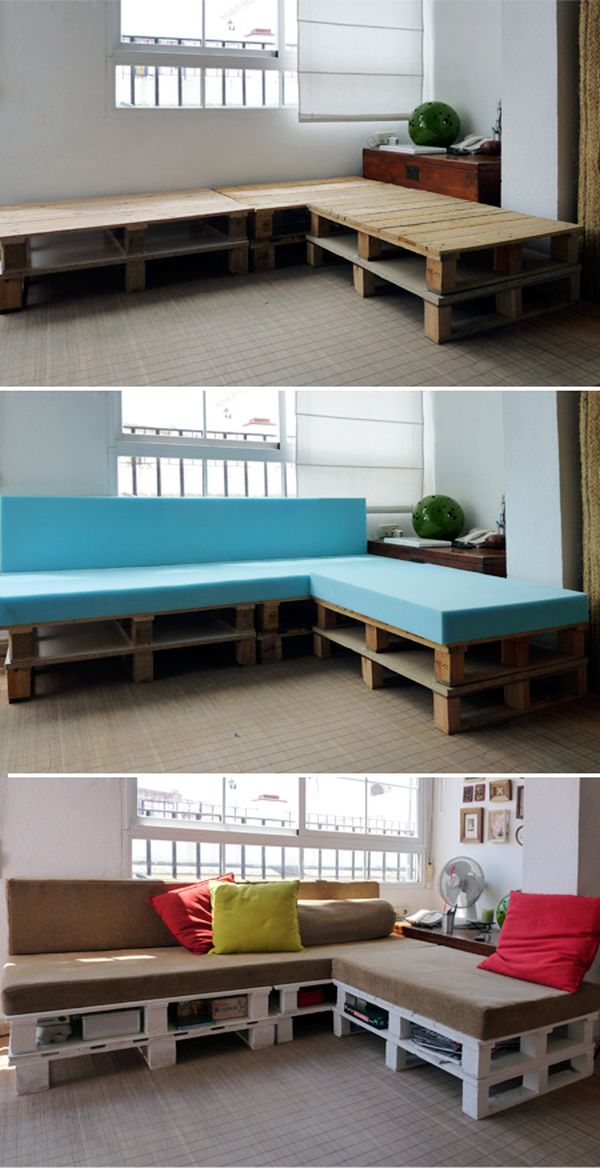 Pallet Sofa With Built In Storage E